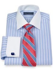 2-Ply Cotton Twill Stripe Spread Collar French Cuff Trim Fit Dress Shirt