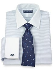 2-Ply Cotton Mini Dot Pattern Spread Collar French Cuff Dress Shirt