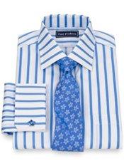 2-Ply Cotton Bold Stripe Spread Collar French Cuff Trim Fit Dress Shirt