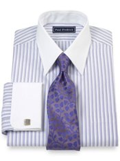 2-Ply Cotton Variegated Stripe Straight Collar French Cuff Dress Shirt