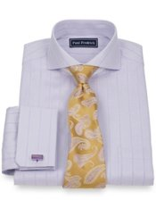2-Ply Cotton Herringbone Stripe Extreme Cutaway Collar French Cuff Dress Shirt