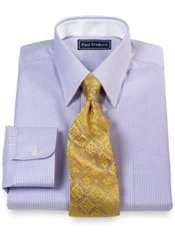 2-Ply Cotton Textured Twill Straight Collar Trim Fit Dress Shirt