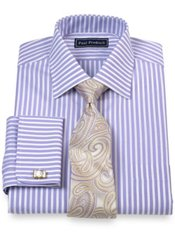 2-Ply Cotton Satin Stripe Spread Collar French Cuff Trim Fit Dress Shirt