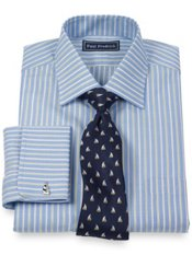 2-Ply Cotton Shadow Stripe Spread Collar French Cuff Trim Fit Dress Shirt