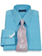 2-Ply Cotton Satin Bengal Stripe Straight Collar Trim Fit Dress Shirt