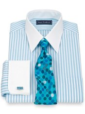 2-Ply Cotton End-on-End Straight Collar French Cuff Trim Fit Dress Shirt