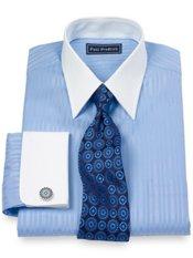 2-Ply Cotton Bold Stripe Straight Collar French Cuff Trim Fit Dress Shirt