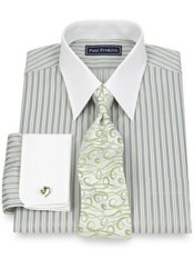 2-Ply Cotton Stripe Straight Collar French Cuff Trim Fit Dress Shirt