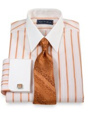 2-Ply Cotton Satin Stripe Straight Collar French Cuff Trim Fit Dress Shirt