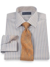 2-Ply Cotton Alternating Satin Stripe Spread Collar Dress Shirt