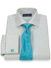 2-Ply Cotton Satin Check Cutaway Collar French Cuff Dress Shirt
