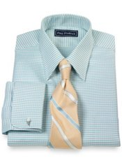 2-Ply Cotton Houndstooth Straight Collar French Cuff Trim Fit Dress Shirt