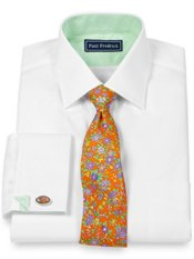2-Ply Cotton Pinpoint Spread Collar French Cuff Trim Fit Dress Shirt