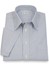 Non-Iron 2-Ply 100% Cotton Stripe Straight Collar Short Sleeve Dress Shirt