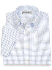 Non-Iron 2-Ply 100% Cotton Hidden Button Down Collar Short Sleeve Dress Shirt