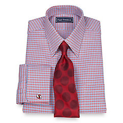 2-Ply Cotton Houndstooth Straight Collar French Cuff Dress Shirt $40.00 AT vintagedancer.com