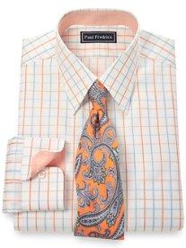 Slim Fit 2-Ply Cotton Satin Grid Straight Collar Dress Shirt