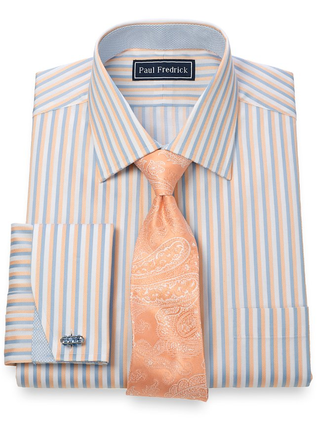 2 ply cotton bold stripe spread collar french cuff dress for 2 ply cotton dress shirt