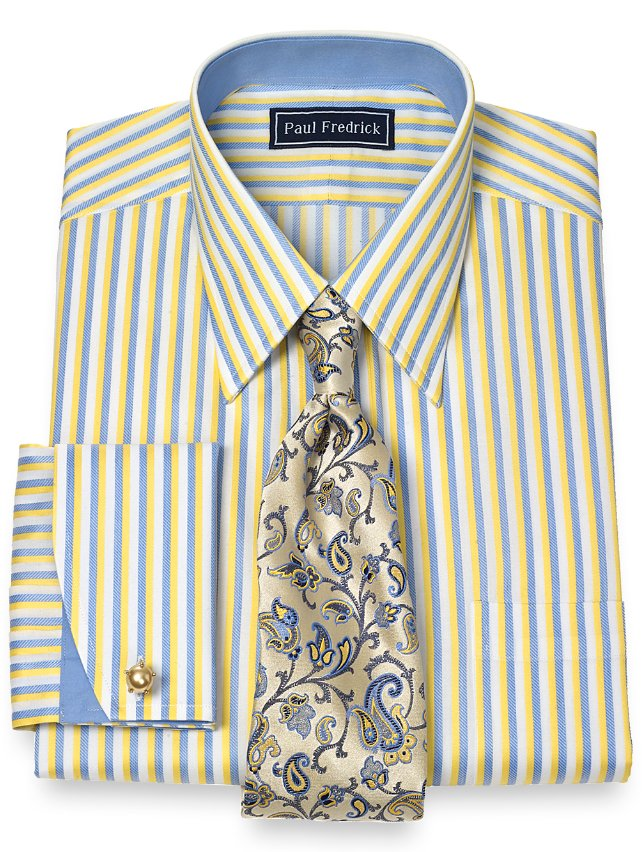 2 ply cotton bold stripe straight collar french cuff dress for 2 ply cotton dress shirt
