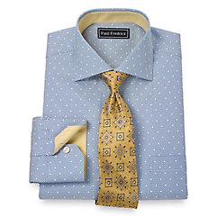 Trim Fit 2-Ply Cotton Dot Pattern Spread Collar Dress Shirt $80.00 AT vintagedancer.com