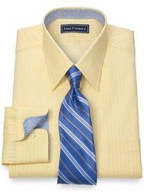 2-Ply Cotton Textured Stripe Straight Collar Dress Shirt