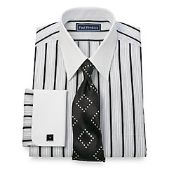 2-Ply Cotton Alternating Satin Stripe Straight Collar French Cuff Dress Shirt $60.00 AT vintagedancer.com