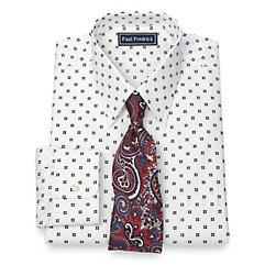 Trim Fit 100 Cotton Box Print Straight Collar Dress Shirt $65.00 AT vintagedancer.com