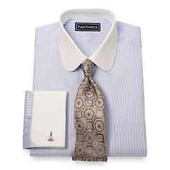 2-Ply Cotton Twill Stripe Club Collar French Cuff Dress Shirt $60.00 AT vintagedancer.com