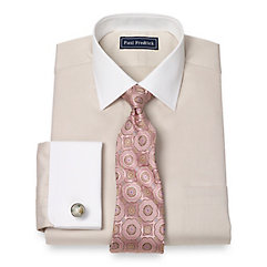 Trim Fit 2-Ply Cotton Diamond Pattern Spread Collar French Cuff Dress Shirt $60.00 AT vintagedancer.com