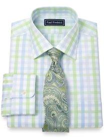 2-Ply Cotton Large Grid Spread Collar Dress Shirt