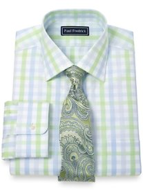 Slim Fit 2-Ply Cotton Large Grid Spread Collar Dress Shirt