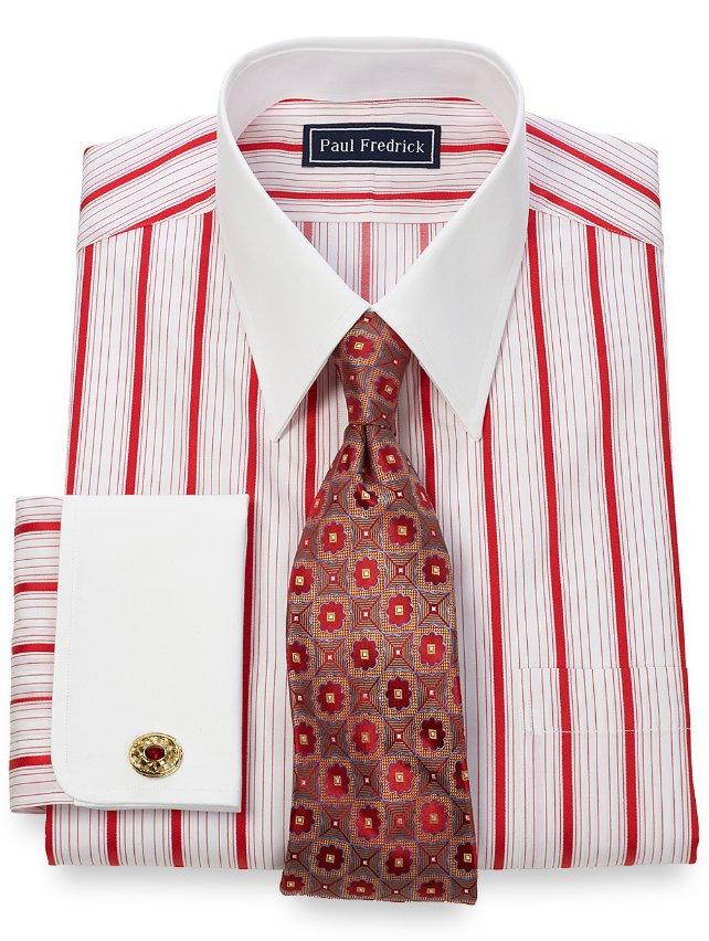 2 ply cotton alternating satin stripe straight collar for 2 ply cotton dress shirt