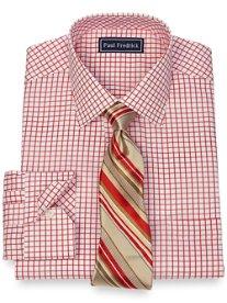 2-Ply Cotton Grid Spread Collar Dress Shirt