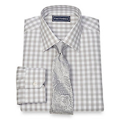 Trim Fit 2-Ply Cotton Gingham Spread Collar Dress Shirt $80.00 AT vintagedancer.com