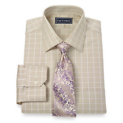 2-Ply Cotton Satin Rope Grid Spread Collar Dress Shirt $80.00 AT vintagedancer.com
