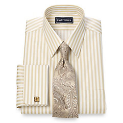 2-Ply Cotton Bold Stripe Straight Collar French Cuff Dress Shirt $50.00 AT vintagedancer.com