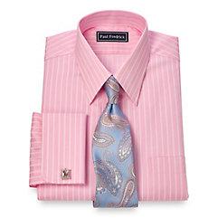 2-Ply Cotton Satin Stripe Straight Collar French Cuff Dress Shirt $40.00 AT vintagedancer.com