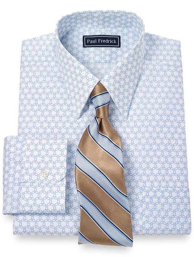 100 Cotton Pinwheel Print Straight Collar Dress Shirt
