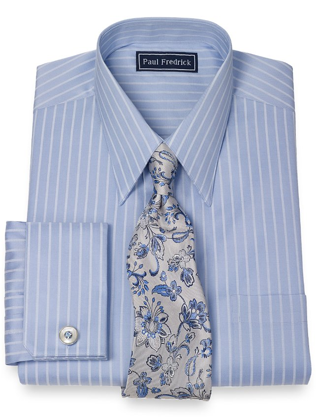 Slim fit 2 ply cotton satin stripes straight collar french for 2 ply cotton dress shirt
