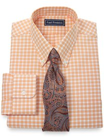 2-Ply Cotton Pinpoint Check Button Down Collar Dress Shirt