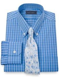 100% Cotton Plaid Button Down Collar Dress Shirt