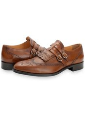 Italian Leather Kiltie Double Monk Strap Shoe
