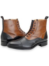 Italian Leather Two Tone Lace Up Boot