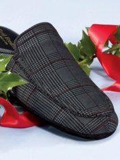 Plaid Suede Open Back Scuff Slippers