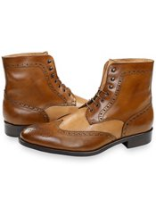 Italian Leather Two Tone Wingtip Lace Up Boot