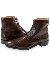 Italian Leather Wingtip Lace Up Boot