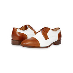 Italian Two-Tone Leather Cap Toe Oxford Shoe