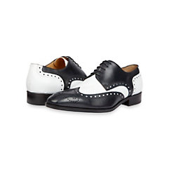 Italian Two-Tone Black & White Mens Leather Wingtip Oxford Shoe