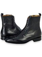 Italian Leather Cap Toe Lace Up Boot