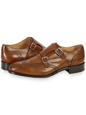 Italian Leather Wingtip Double Monk Strap Shoe